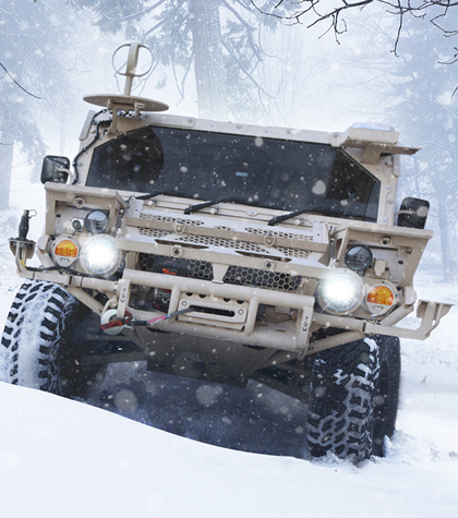 Flyer vehicle in snow