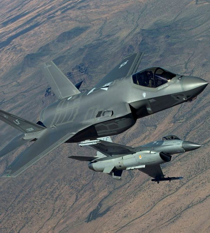 F-35 and F-16 in flight