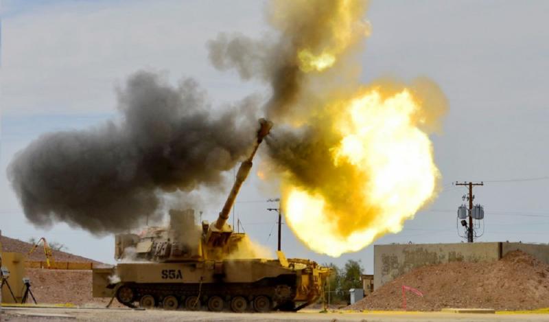 M109A7 Paladin firing main gun